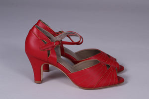 30s inspired high heel evening shoes -  Red with gold - Susan