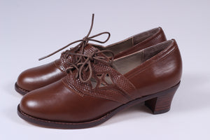 Everyday walking Oxford shoes 30s / 40s - Nougat Brown - Emily