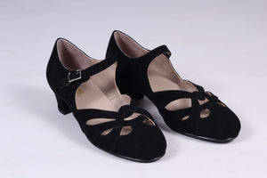 Everyday 1930s /1940s style suede sandals - Black - Ida