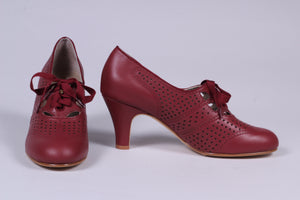 1930s everyday oxford high heel shoes - Brown Red - Marie