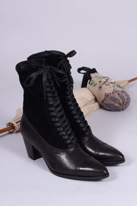 Edwardian style boots, 1900-1910 - black - Victoria