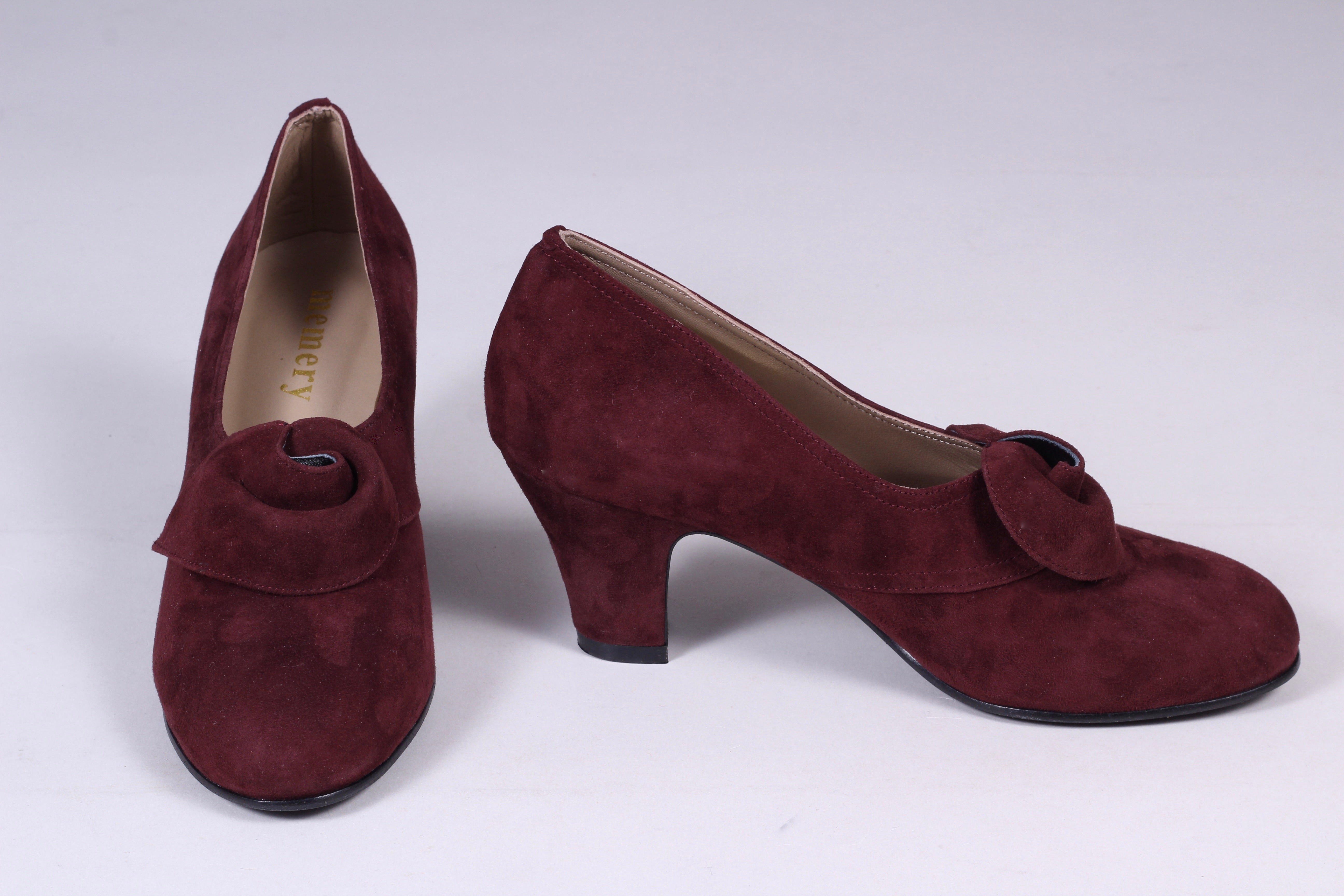 40's vintage style pumps in suede with rosette - Plum - Luise