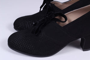 VEGAN shoes - 40s vintage style pumps  with shoe lace - Black - Esther
