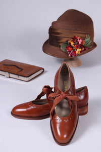 Early 30s inspired everyday shoes, cognac brown - Anna