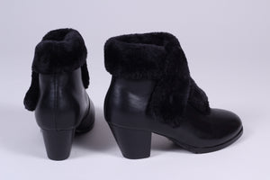 40s style pump booties with wool - Black - Maria