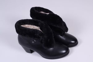 50s style pump booties with wool - Black - Maria