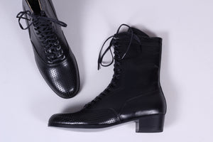 20s / 30s style everyday leather boot  - Black - Martha
