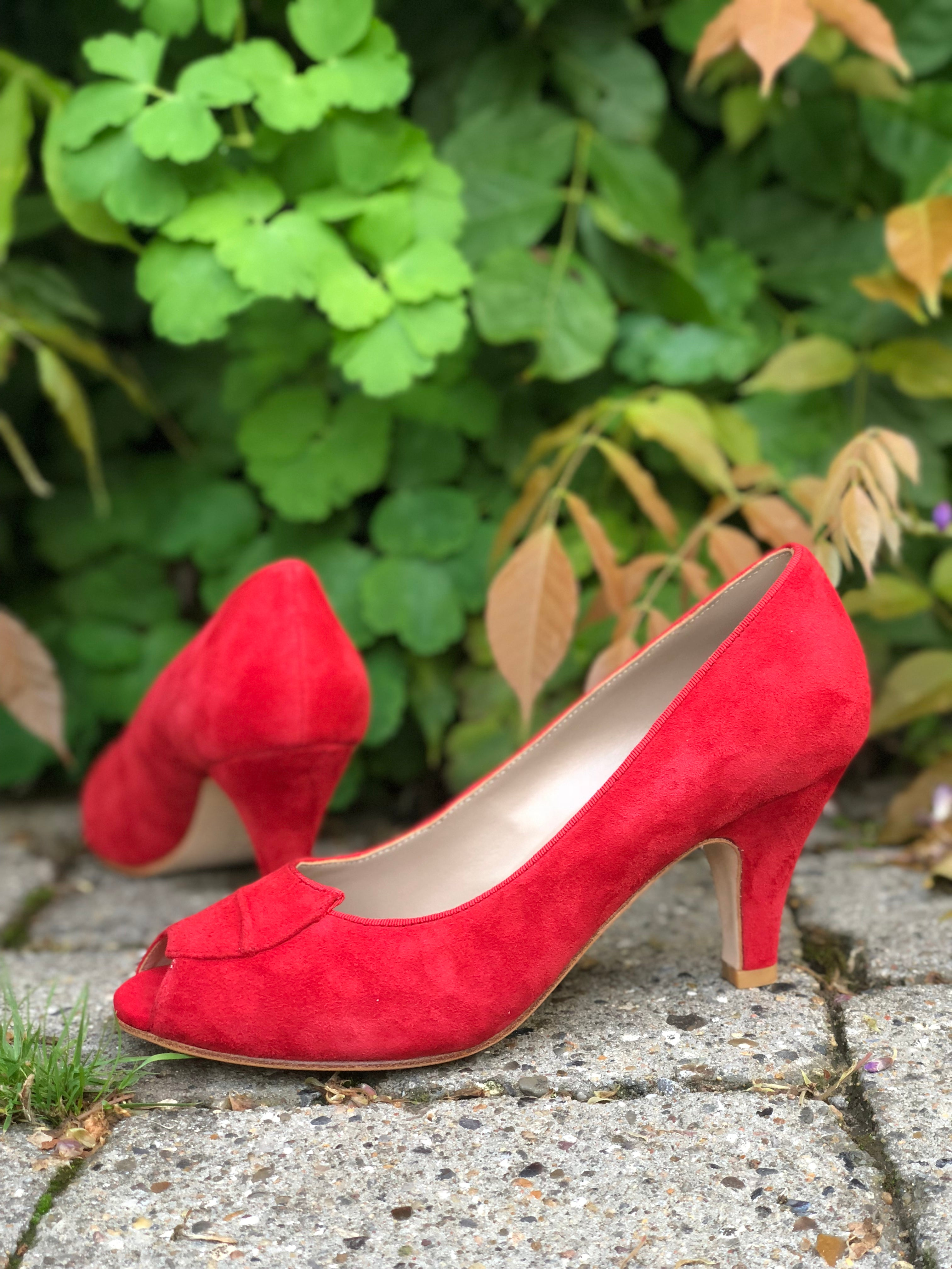 50's peep toe - vintage style in suede - Red