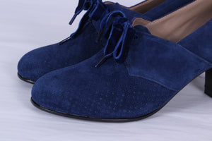 40's vintage style pumps in suede with lace - navy blue - Esther