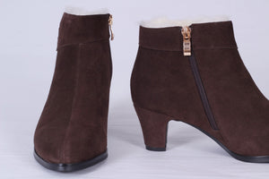 50s style booties with zipper - dark brown
