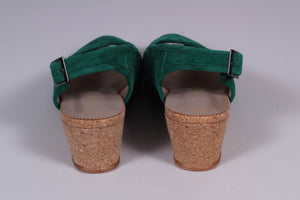Suede wedge sandals 1940s - 50s style - green - Elizabeth