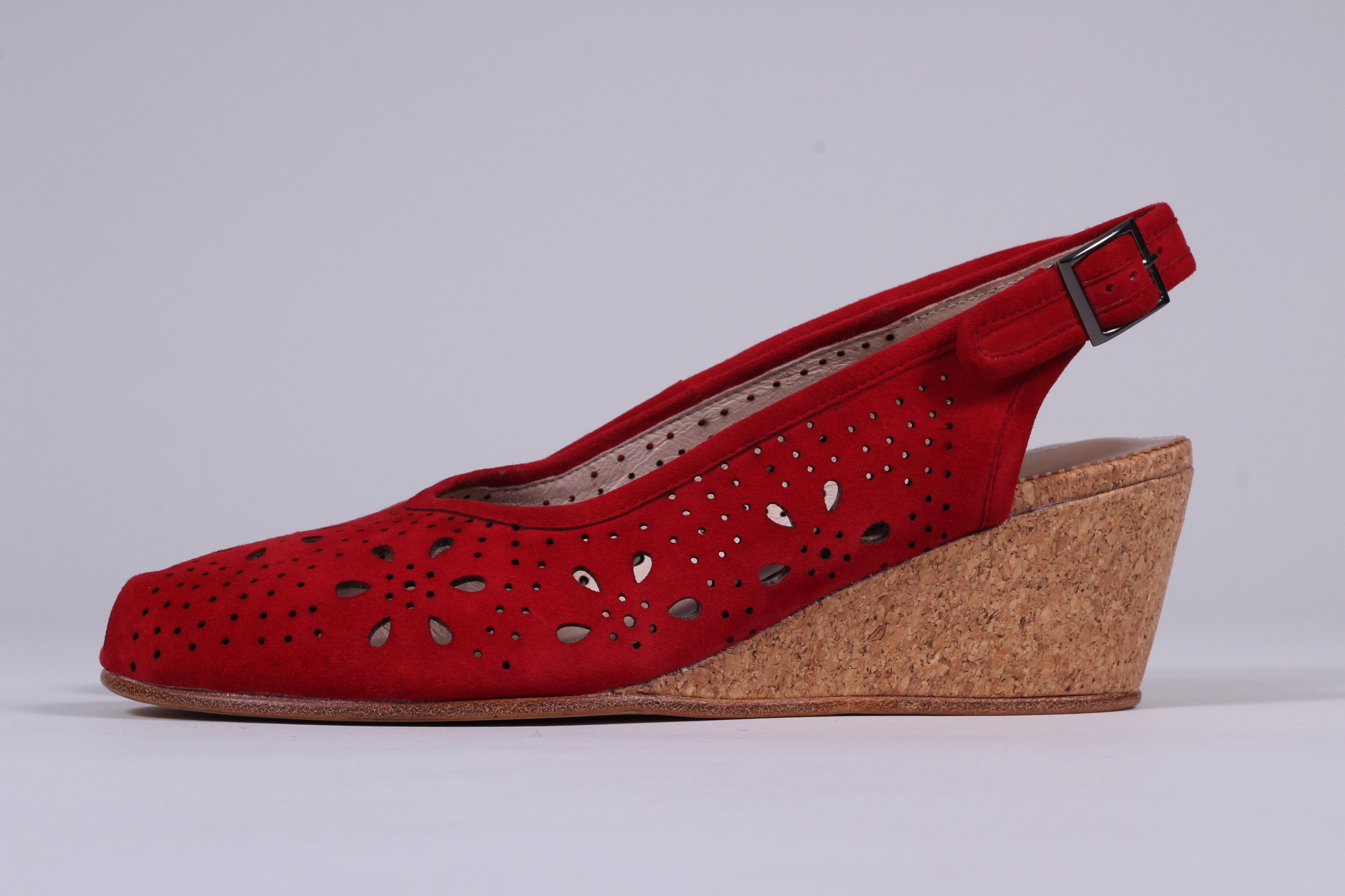 Suede wedge sandals 1940s - 50s style, red