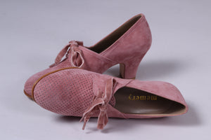 40's vintage style pumps in suede with lace, Dark Powder Rose - Esther