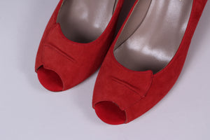 50's peep toe - vintage style in suede - Red - Margaret