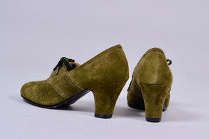 40's vintage style pumps in suede with lace - Green - Esther