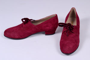 40s red vintage style shoes in suede with lace - Low heel red - Esther