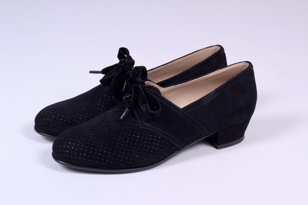 40s vintage style shoes in suede with lace - Low heel black