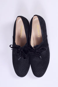 40s vintage style shoes in suede with lace - Low heel black - Esther