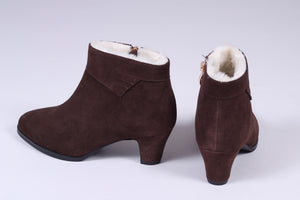 50s style booties with zipper - dark brown - Mary