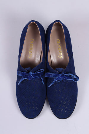 40's vintage style pumps in suede with lace - navy blue