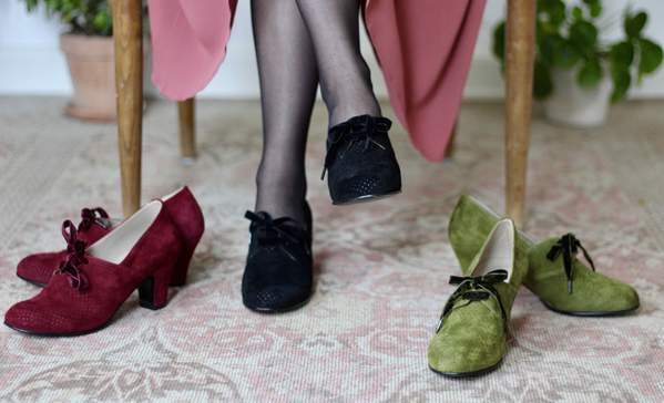 40's vintage style pumps in suede with lace - Red