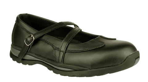 Amblers Safety FS55 Womens Buckle Fastening Mary Jane Safety Shoe Black