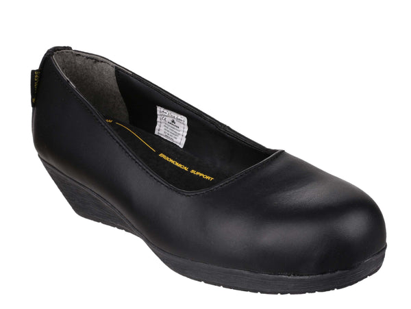 Amblers Safety FS107 Womens Steel Toe Wedge Heeled Safety Shoe Black