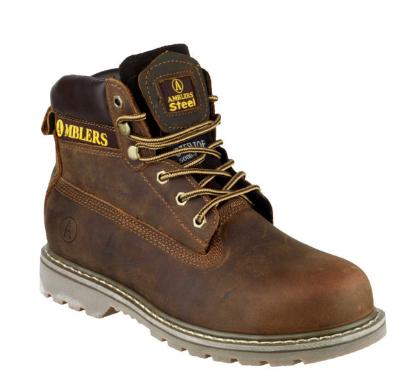 Amblers Safety FS164 Mens Welted Lace Up Safety Boot Brown