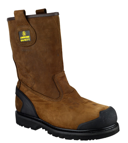 Amblers Safety FS223 Mens Pul On Rigger Safety Boot Brown