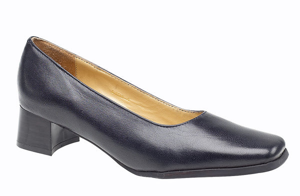 Amblers Walford X Wide Fit Womens Court Shoe Navy