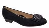 Ara Bari 12-33755-01 Womens Suede Leather Slip On Ballerina Pump 01 Black