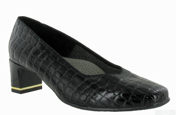 Ara Verona 12-41768-07 Womens Wide Fit Dress Court Shoe 07 Black Croc