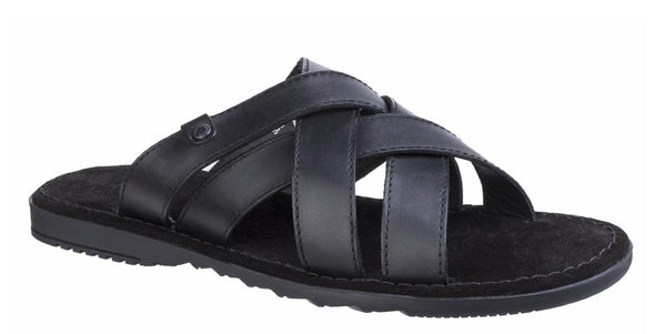 Base London Apollo Mens Slip On Summer Mule Sandal Black Waxy