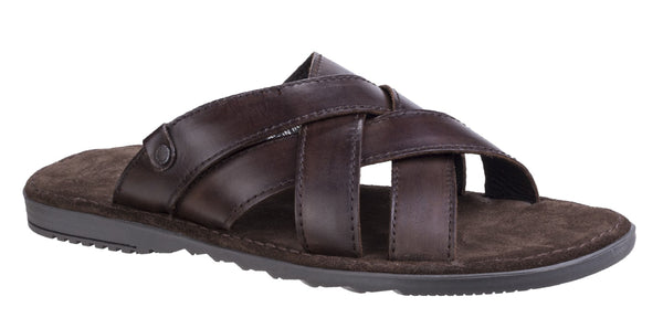 Base London Apollo Mens Slip On Summer Mule Sandal Brown Washed