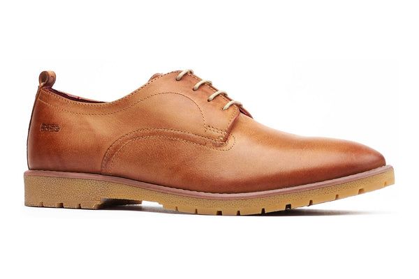 Base London Avery Plain Lace Up Derby Tan