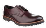 Base London Barrage Mens Plain Toe Lace Up Derby Shoe Brown Washed