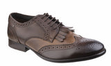 Base London Bartley Burnished Mens Fringed Brogue Detail Lace Up Shoe Tan/Cocoa Burnished