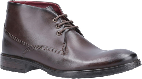 Base London Bramley Burnished Lace Up Ankle Boot Brown