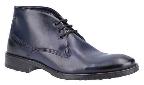 Base London Bramley Burnished Lace Up Ankle Boot Navy