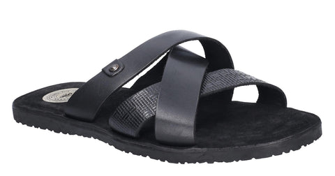 Base London Chariot Waxy Slip On Sandal Black