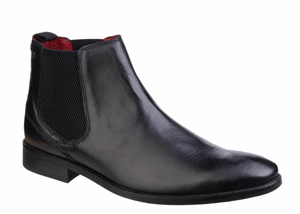 Base London Cheshire Mens Pull On Leather Chelsea Boot Black Waxy