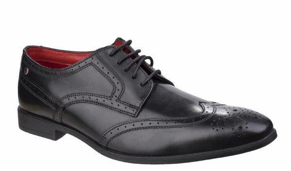 Base London Crown Waxy Mens Brogue Detail Formal Shoe Black Waxy