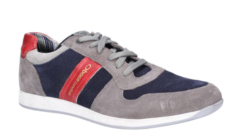 Base London Eclipse Suede Lace Up Trainer Grey/Navy