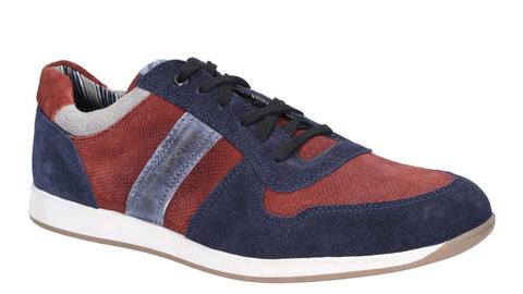 Base London Eclipse Suede Lace Up Trainer Navy/Bordo