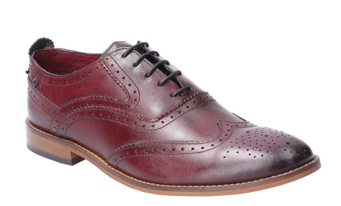 Base London Focus Washed Lace Up Brogue Shoe Bordo