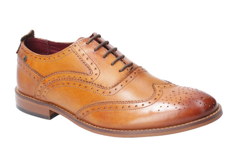 Base London Focus Washed Lace Up Brogue Shoe Tan