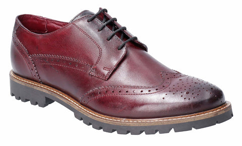 Base London Grundy Washed Lace Up Shoe Bordo