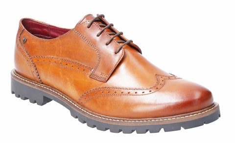 Base London Grundy Washed Lace Up Shoe Tan