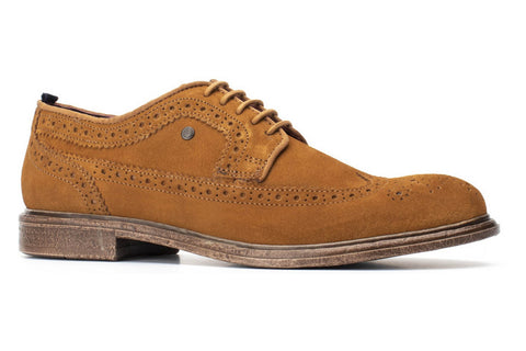 Base London Onyx Suede Mens Brogue Detail Lace Up Shoe