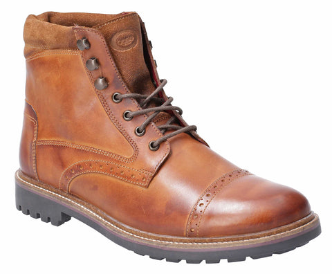 Base London Quail Burnished Lace Up Brogue Boot Tan